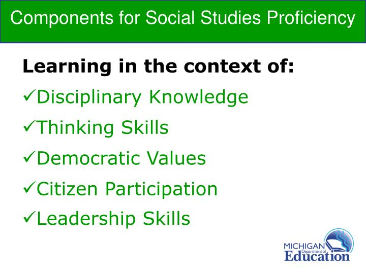 Components for Social Studies Proficiency
