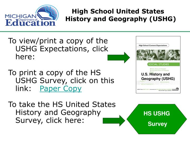 High School United States History and Geography (USHG)