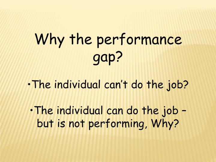 Why the performance gap?