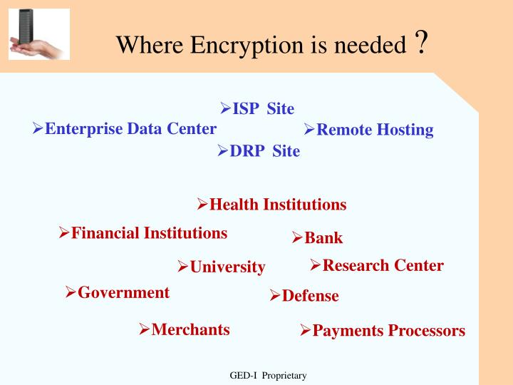 Where Encryption is needed