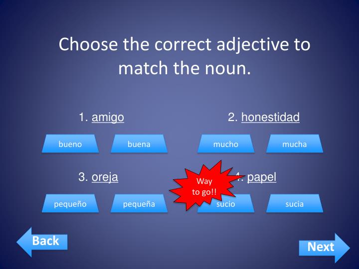 Choose the correct adjective to match the noun.