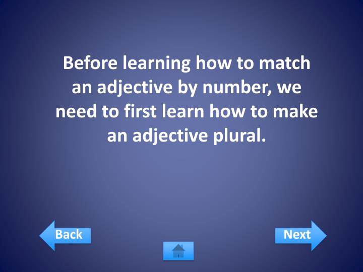 Before learning how to match an adjective by number, we need to first learn how to make an adjective plural.