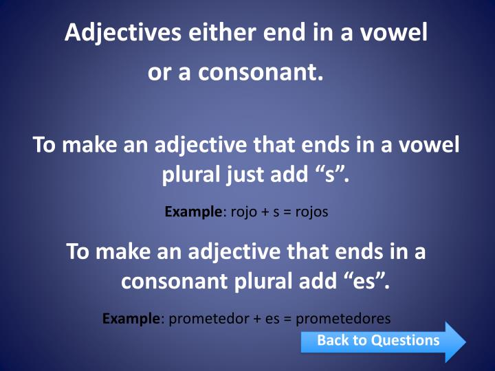 Adjectives either end in a vowel