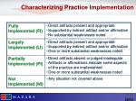 characterizing practice implementation
