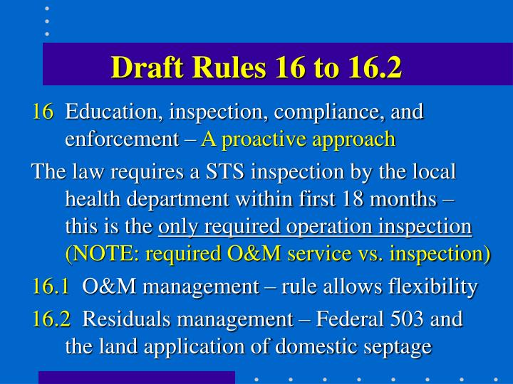 Draft Rules 16 to 16.2