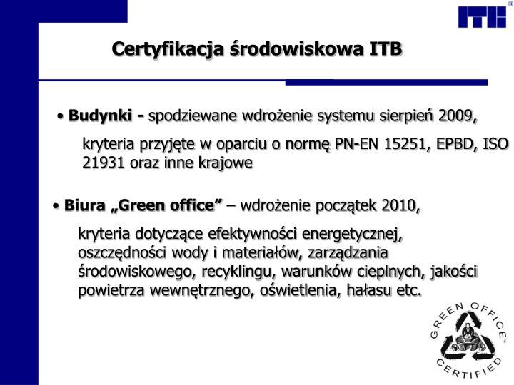 Certyfikacja środowiskowa ITB