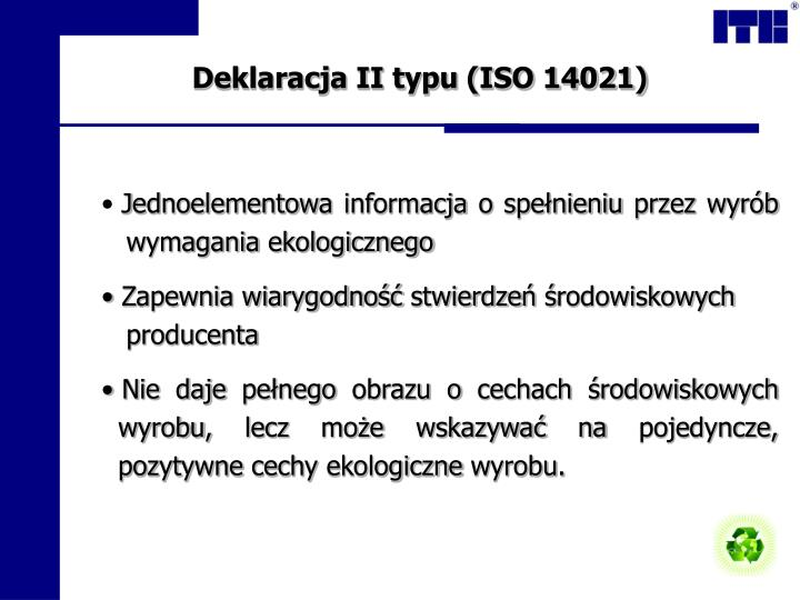Deklaracja II typu (ISO 14021)