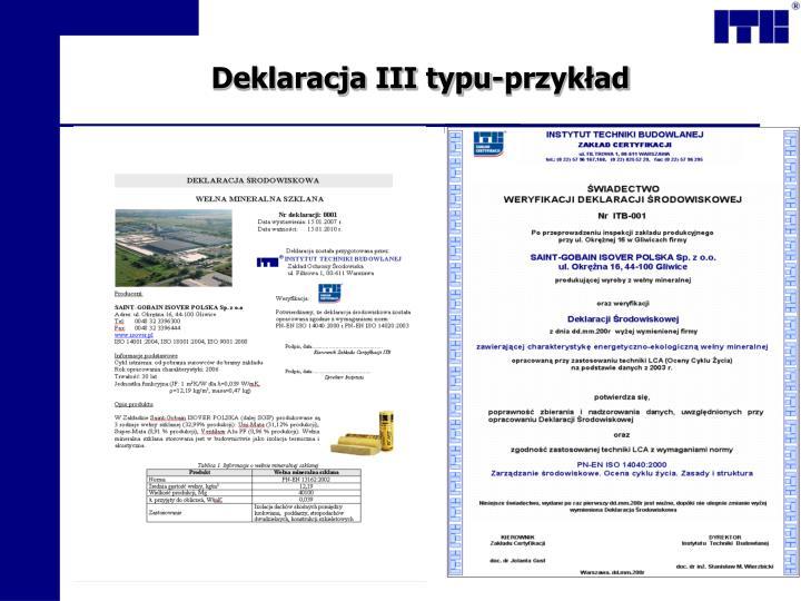 Deklaracja III typu-przykład