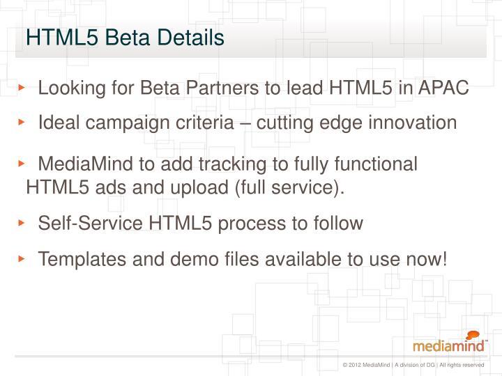 HTML5 Beta Details
