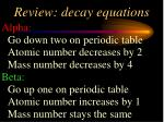 review decay equations