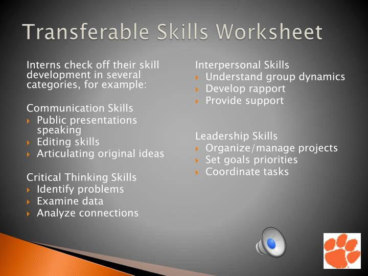 Transferable Skills Worksheet