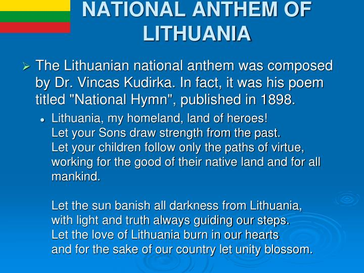 NATIONAL ANTHEM OF LITHUANIA