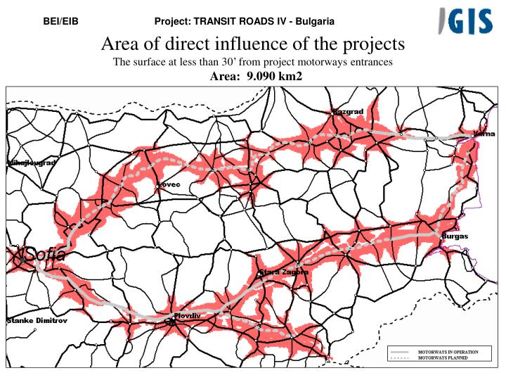 Area of direct influence of the project