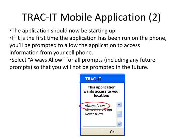 Trac it mobile application 2