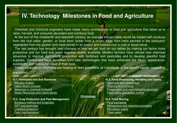 iv technology milestones in food and agriculture n.