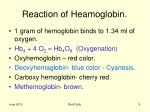 reaction of heamoglobin