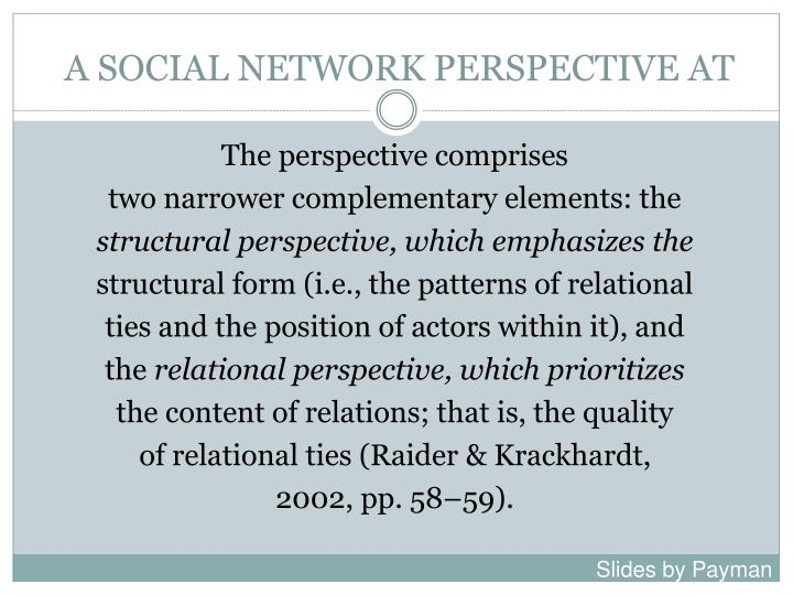 A SOCIAL NETWORK PERSPECTIVE AT