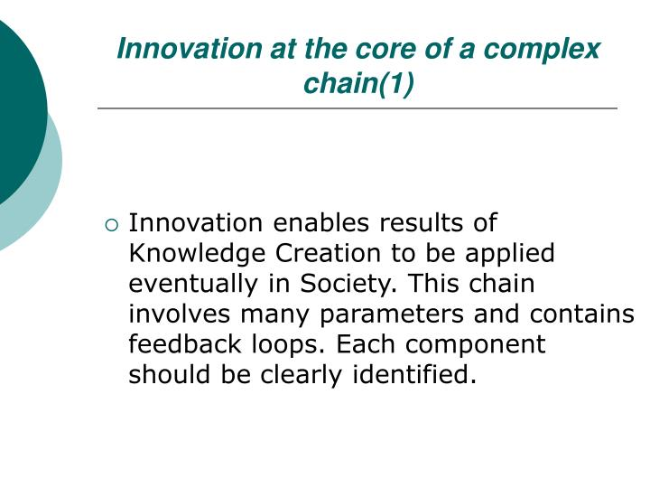Innovation at the core of a complex chain(1)