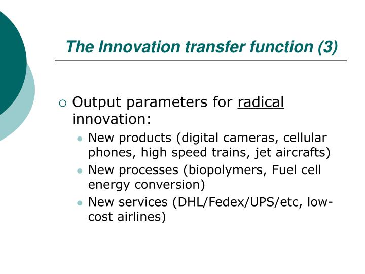 The Innovation transfer function (3)