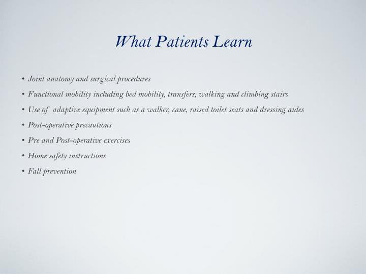 What Patients Learn