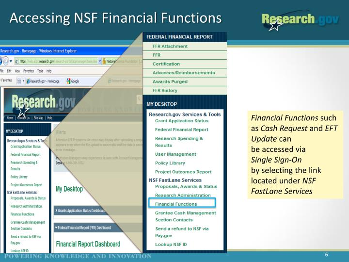Accessing NSF Financial Functions