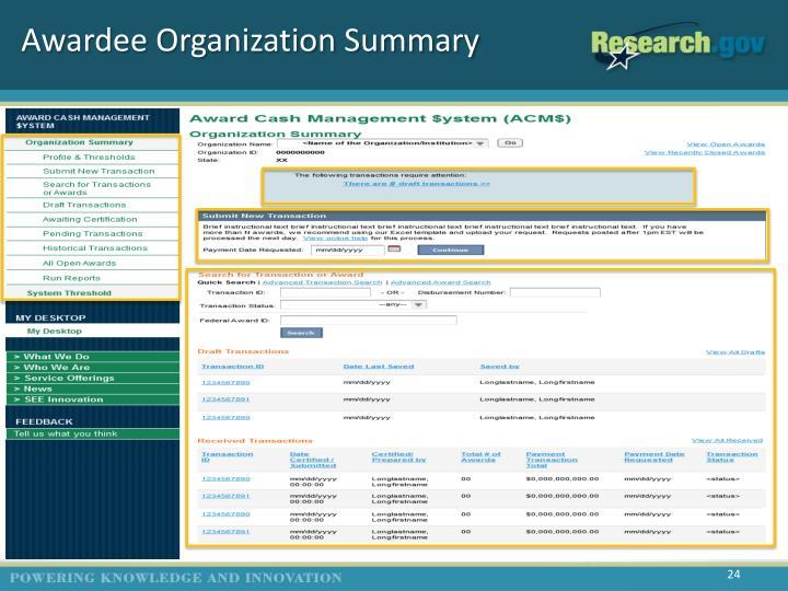 Awardee Organization Summary