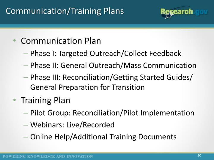 Communication/Training Plans
