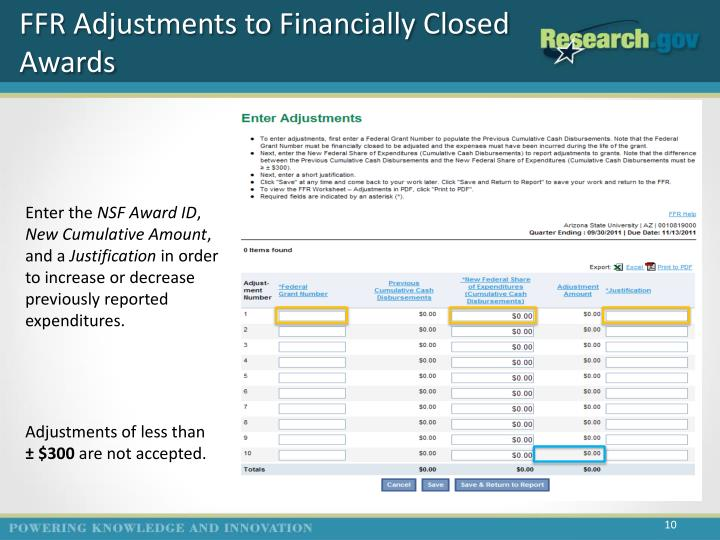 FFR Adjustments to Financially Closed Awards