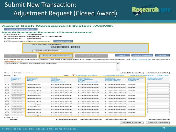 Submit New Transaction: