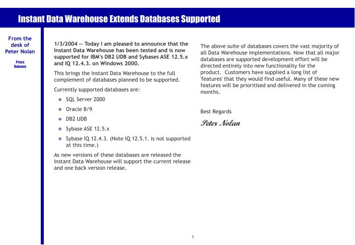 instant data warehouse extends databases supported n.