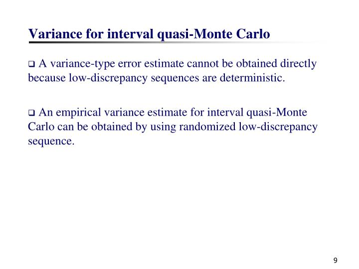 Variance for interval quasi-Monte Carlo