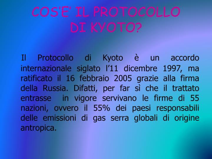 Cos e il protocollo di kyoto