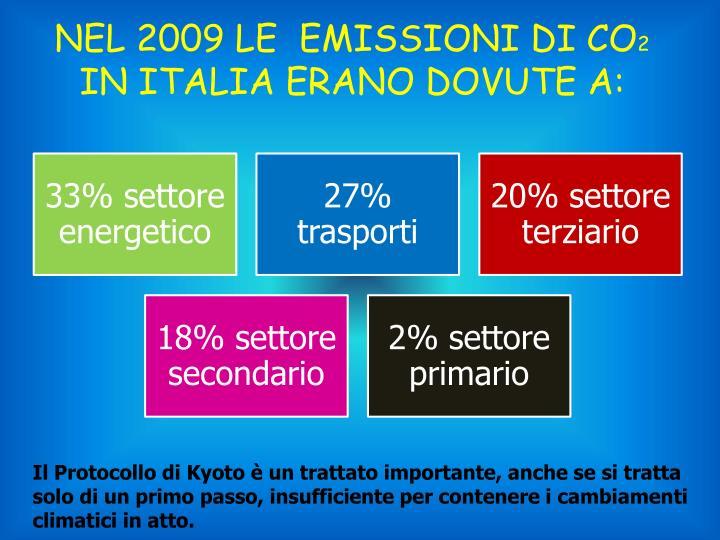 NEL 2009 LE  EMISSIONI DI CO