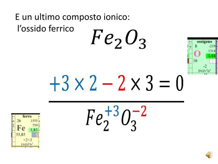 E un ultimo composto ionico: