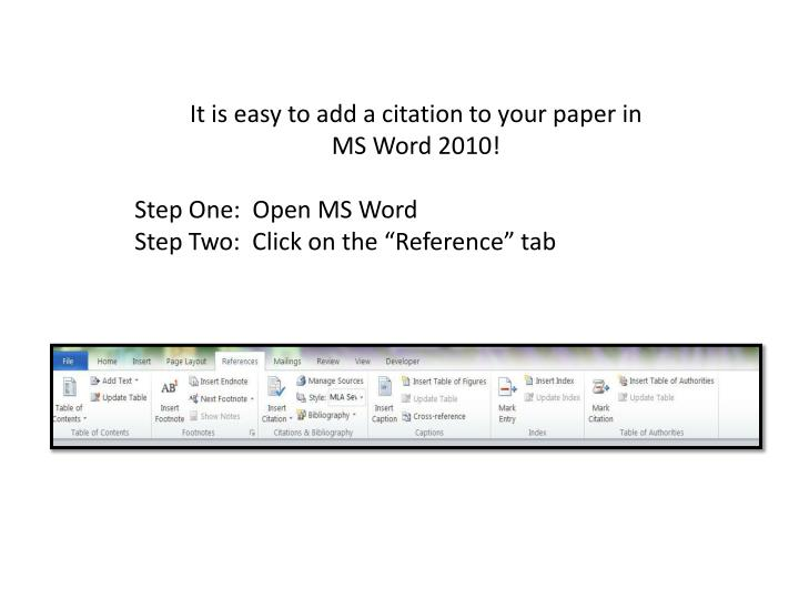 adding citations to a research paper Add or change sources, citations, and bibliographies applies to: this is useful, for example, if you write research papers that use many of the same sources.