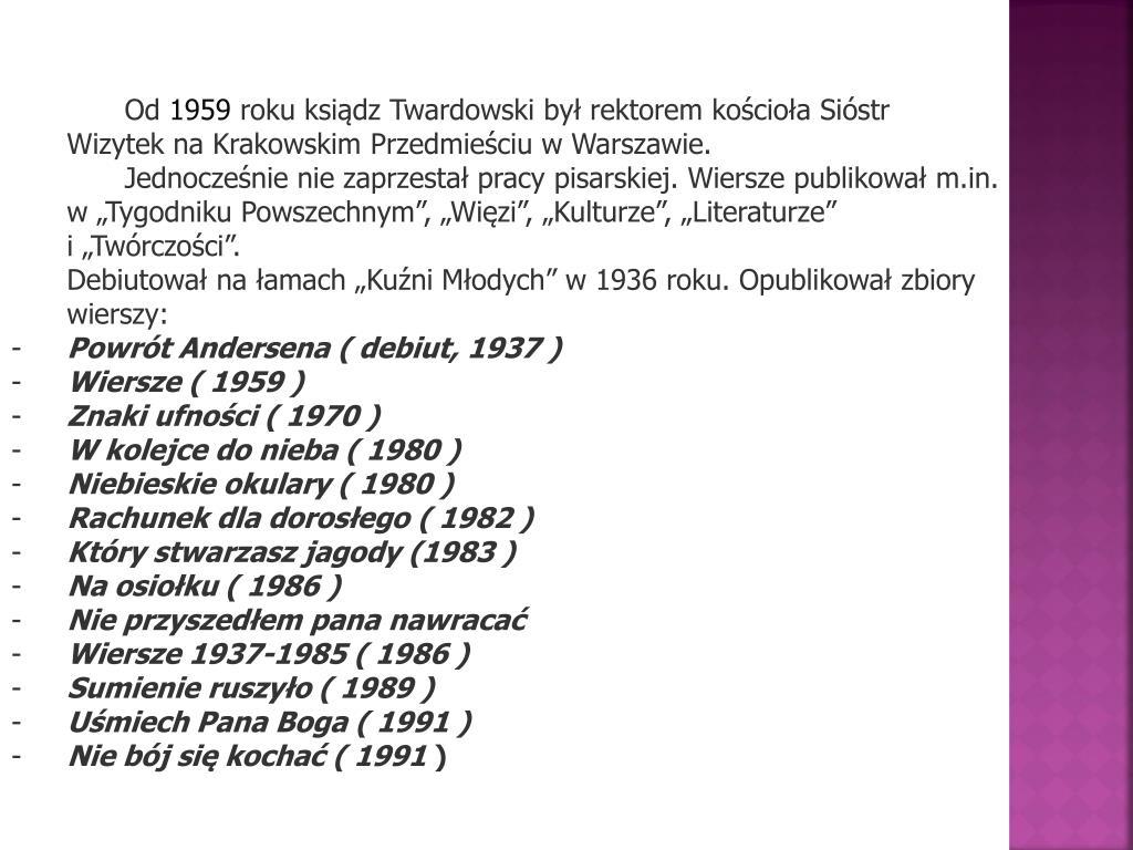 Ppt Najciekawsze Wiersze Ks Jana Twardowskiego Powerpoint