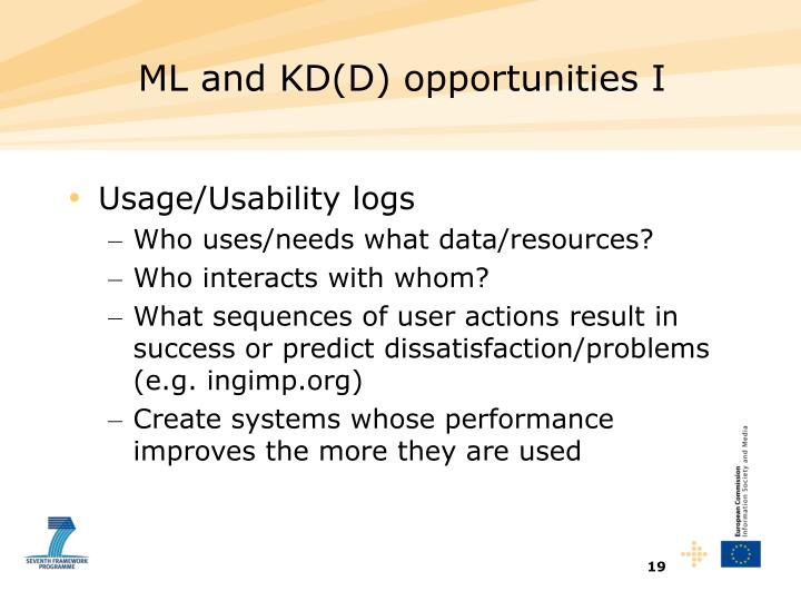ML and KD(D) opportunities I