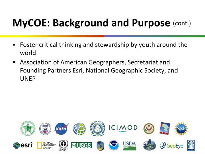 MyCOE: Background and Purpose