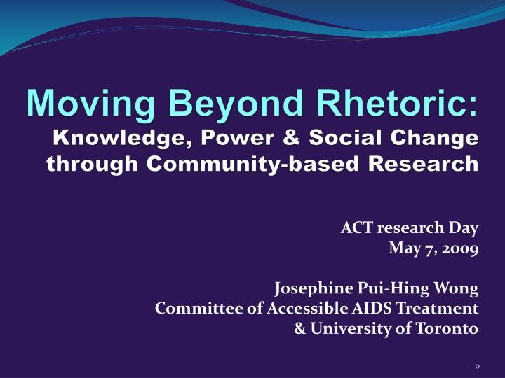 moving beyond rhetoric knowledge power social change through community based research n.
