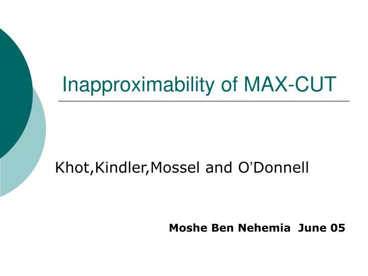 inapproximability of max cut n.