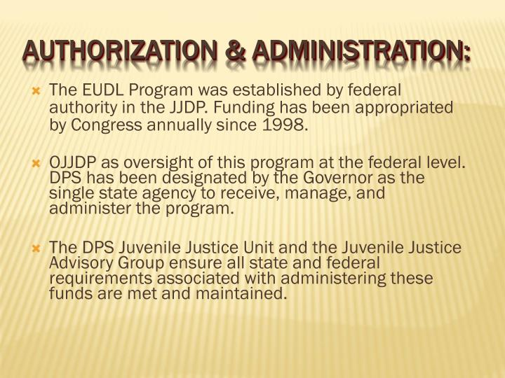 The EUDL Program was established by federal authority in the JJDP. Funding has been appropriated by Congress annually since 1998.
