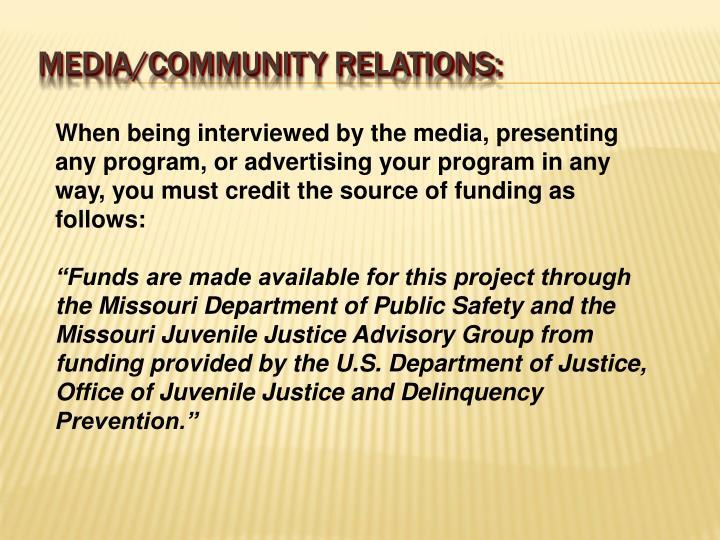 Media/community relations: