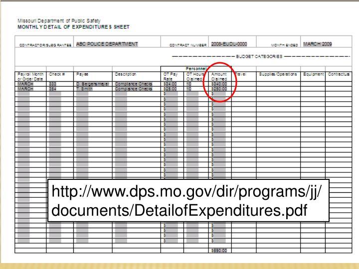 http://www.dps.mo.gov/dir/programs/jj/documents/DetailofExpenditures.pdf