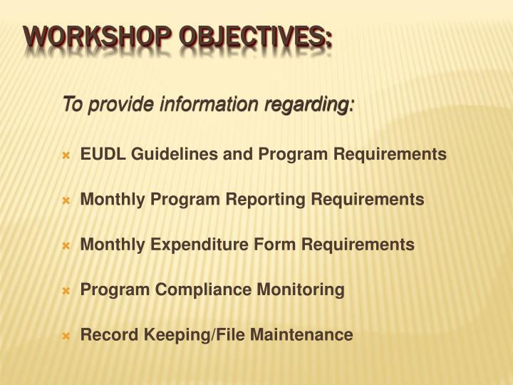 To provide information regarding: