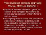 voici quelques conseils pour faire face au stress relationnel