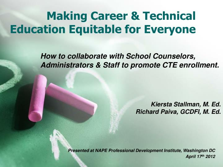 making career technical education equitable for everyone n.