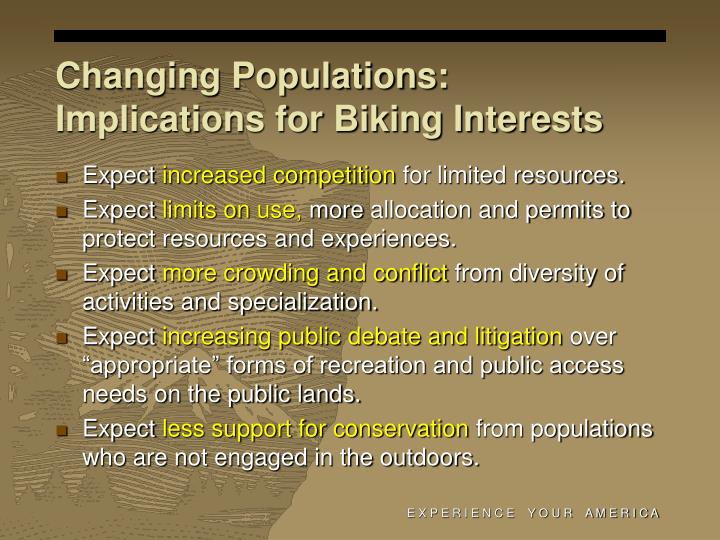 Changing Populations: Implications for Biking Interests