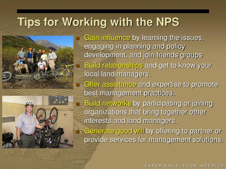 Tips for Working with the NPS