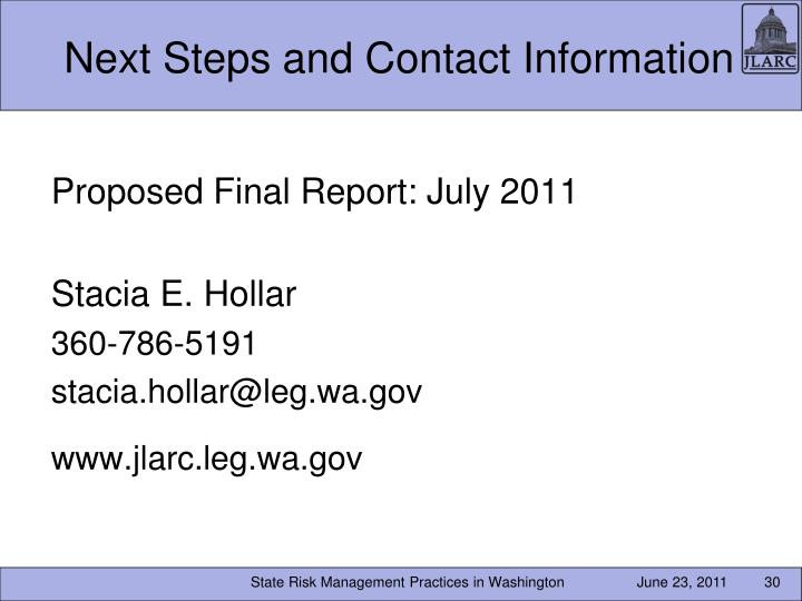 Next Steps and Contact