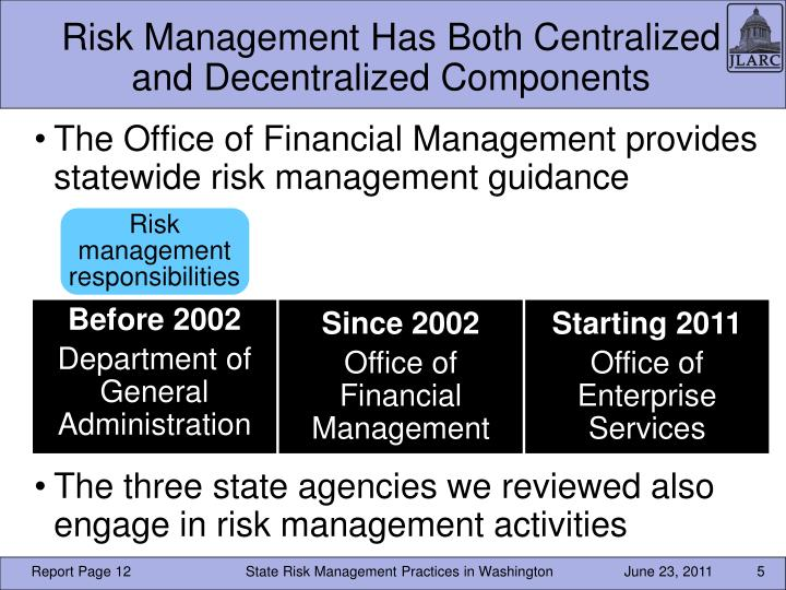 Risk Management Has Both Centralized and Decentralized Components